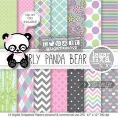 #Girly #Panda #Bear #invitations #inviti #festa #events #pandita on Etsy, € 4,19