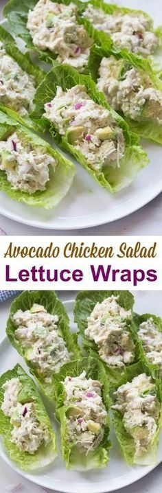 Avocado Chicken Salad Lettuce Wraps is part of Yummy lunches - If you love chicken salad and avocados you will go crazy for these AVOCADO CHICKEN SALAD WRAPS! They make a healthy and delicious lunch that I can't get enough of Healthy Snacks, Healthy Eating, Healthy Recipes, Diet Recipes, Healthy Lunch Ideas, Dinner Healthy, Easy Healthy Appetizers, Healthy Delicious Recipes, Dessert Recipes