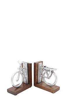 "This bicycle pewter and wood bookend is perfect for a classic or urban home. Not only a beautiful piece but handy too.<div class=""pdpDescContent""><BR /><b class=""pdpDesc"">Dimensions:</b><BR />L15xW6.5xH15.5 cm</div>"