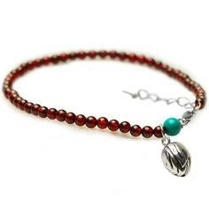 Lotus Drop Garnet Anklet
