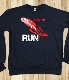 Born to Run Navy Sweatshirt red track shoe- great for the marathon runner or cross country and track athlete.