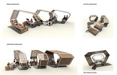 Urban seating design that will implement the urban concept of engaging the users. Urban Furniture, Street Furniture, Concrete Furniture, Landscape And Urbanism, Landscape Design, Public Space Design, Public Spaces, Urban Concept, Shelter Design