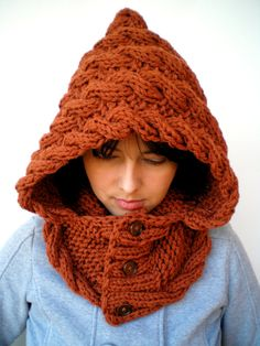 Lady Marion Spice Brown Hood Super Soft Wool Hooded Cowl Hand Knit Cabled Hat Hood