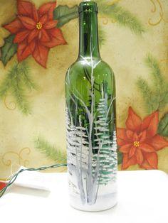 Upcycled Wine Bottle Light Lamp-Night Light-Winter Scene Green glassss