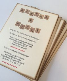 Wedding Invitation Set of 50 Scrabble Themed by TheTrendySparrow