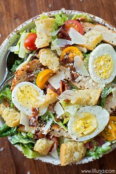 Ultimate Caesar Salad with grilled chicken, croutons, tomatoes, bacon, hard-boiled eggs, Parmesan cheese and tomatoes. Simply AMAZING!!! #ForTheLoveOfProduce #Marzetti #ad