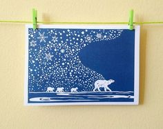 Items similar to Polar bear & cubs, snowflakes, lino print Christmas card New Baby Greetings. Great for Christmas, a family occasion. with envelope. on Etsy Stamp Printing, Screen Printing, Lino Art, New Baby Greetings, Linoprint, Christmas Illustration, Tampons, Linocut Prints, Xmas Cards
