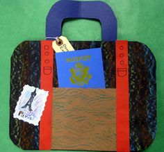 Cassie Stephens: In the Art Room: Packing Our Bags Suitcase and passport art project