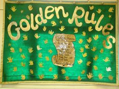 Each child printed a golden hand print & then had a go at signing their name on the hand print. Pack-away pre-school on fabric so can be folded away each day. Class Rules Display, Display Boards For School, Primary School Displays, Classroom Displays, Year 4 Classroom, Classroom Ideas, Class Charter, Class Promise, Preschool Rules