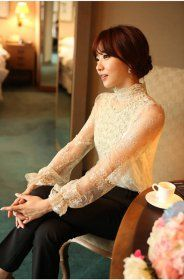 J73115 Korean Fashion Stand Collar Handcraft Beads Lace Shirt