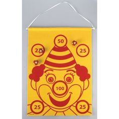 """Big Top Bday Felt Toss Game by Creative Converting. $12.72. Design is stylish and innovative. Satisfaction Ensured.. Manufactured to the Highest Quality.. Have your very own part of the show! Our Big Top Felt Toss Game features a red clown on a yellow felt background. Game includes 3 stick on balls and measures 24"""" x 18""""."""