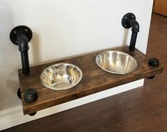 Industrial style dog feeding station – plumbing pipe dog bowl What's Decoration? Decoration could be the art of decorating … Industrial Home Design, Industrial House, Industrial Style, Industrial Farmhouse Decor, Diy Home Decor For Apartments, Diy Kitchen Decor, Kitchen Ideas, Kitchen Tables, Rustic Kitchen