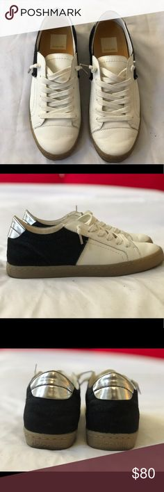 new arrival 2b5f7 558a2 Dolce Vita sneakers I worn only once , very soft white leather and half  black artificial fur! Fits beautifully with any pants and dresses as well.