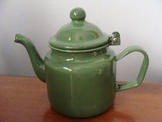 Vintage Enamel Tea Pot  Individual Green Enamel by TheClassyLady, $12.00