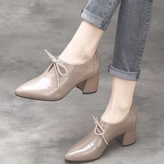 Leather Pointed Thick Cow Leather Patent Shoes Source by shoes pumps Pretty Shoes, Cute Shoes, Women's Shoes, Wedge Shoes, Me Too Shoes, Shoe Boots, Mid Heel Shoes, Beautiful Shoes, Flat Shoes