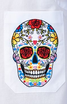 My Carmele Skull Blouse — Bora Bohème Ethical Fashion, Womens Fashion, Colorful Skulls, Shirt Style, The Incredibles, Embroidery, My Style, Blouse, Cotton