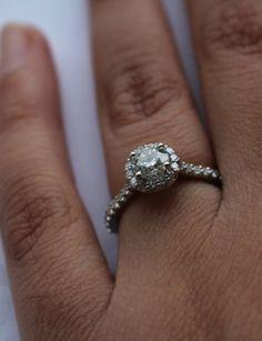 Real Ritani Engagement Rings - Diamond Halo with french-set band #RitaniPinterest