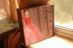 Regency Era Lady in Red Original Art Mini Canvas Painting - Into the Woods. on Etsy, $70.00