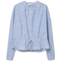 MANGO Cotton Shirt ($60) ❤ liked on Polyvore featuring tops, long sleeve tops, round top, blue cotton shirt, cotton shirts and mango tops