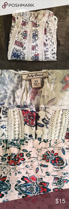 lucky brand boho long sleeve tee super flowy with buttons and a floral/fractal pattern. barely ever worn. runs large due to style 🌿 Lucky Brand Tops Tunics