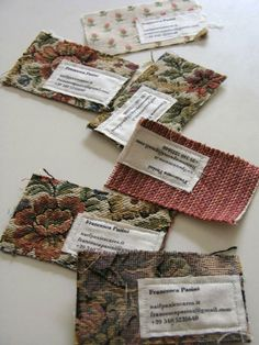Very creative business 'cards' by Francesca Pasini. They are made from old fabric samples collected by her mom.