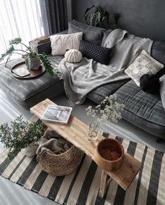 modern living room design ideas - Wohnraum gestalten - Home Sweet Home Living Room Grey, Living Room Modern, Interior Design Living Room, Home And Living, Living Room Designs, Modern Interior, Grey Interior Design, Charcoal Sofa Living Room, Modern Decor