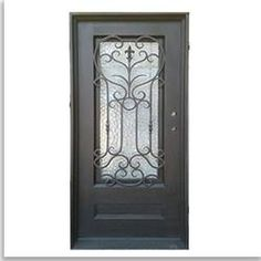 "Grafton Exterior Wrought Iron Glass Doors Roman Collection Black Left Hand Inswing 82""x38"" Flat Top"