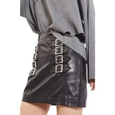 Women's Topshop Buckle Detail Leather Miniskirt ($180) ❤ liked on Polyvore featuring skirts, mini skirts, black, short mini skirts, short leather skirt, mini skirt, leather miniskirt and bike skirt