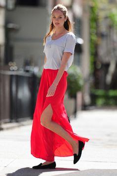 gonna rossa lunga fashion blogger fashion week 2013