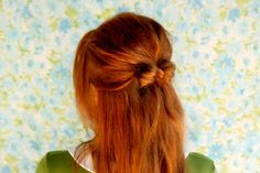Put your hair in a half bun with a tail  Split the bun into two sections  Wrap the tail around, or with my really long hair I tuck it in and through the back.  pin for security and it's done! Mini Bow, Half Ponytail, Half Updo, Beautiful Mess, Bow Hairstyles, Pretty Hairstyles, Everyday Hairstyles, Red Hair, Hair Bow Tutorial