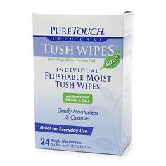 PureTouch Tush Wipes Naturals, Flushable Moist Wipes - 24 ea