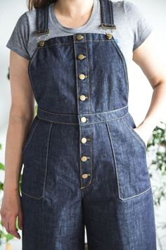 Vintage Sewing Patterns Use our free pattern bonus to make button front Jenny Overalls! Pattern and bonus by Closet Case Patterns - I'm so tickled by everyone's enthusiasm for our button-front Jenny Overalls hack. The pair I made is one of my most Pinafore Dress Pattern, Jumpsuit Pattern, Pants Pattern, Vintage Sewing Patterns, Clothing Patterns, Pdf Patterns, Shirt Patterns For Women, Ladies Shirt Pattern, Overalls Women