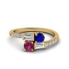2 Stone Sapphire With baguette  Alternative Engagement Ring with Pink Sapphire in 14K Yellow Gold exclusively styled by Fascinating Diamonds