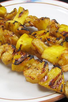 Glazed Pineapple and Shrimp Kabobs (Weight Watchers)