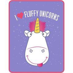 Despicable Me Minions Fluffy the Unicorn I Heart Fluffy Kids Throw, Multicolor