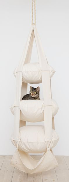 The Cat's Trapeze, as this unique invention is called, is a tower of pillows. An exciting place to play, romp and sleep for young and active cats. Crazy Cat Lady, Crazy Cats, I Love Cats, Cool Cats, Cat Room, Pet Furniture, Animal Projects, Cat Tree, Pet Beds