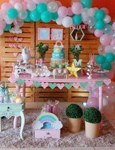Decoración de Mesa para Baby Shower • Más de 25 Fantásticas Ideas Flamingo Birthday, Rainbow Birthday Party, Unicorn Birthday Parties, Unicorn Party, Girl Birthday, Baby Shower Parties, Baby Boy Shower, Mesas Para Baby Shower, Balloon Arrangements