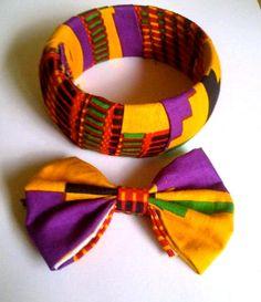 African print bracelet and hair bow. $8.00, via Etsy.