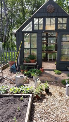 I love potting sheds. The windows, the light, the moist earth. When I was young, my mother took me to Mr. Culpepper's nursery-it was a treasure trove of broken pots, mossy bricks, little potting sheds. To this day, that visit is one of my fondest memories. #littlegardens #buildingagardenshed #BrickShedPlans #pottingshed