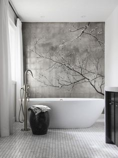 Soothing. Absolutely beautiful accent wall. ♅ Dove Gray Home Decor ♅ white & grey bath