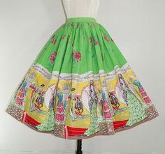 1950's flamenco theme border print novelty skirt.