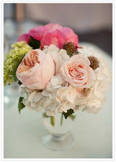 Some of my favorite flowers: peonies and hydrangeas. Love the pastel color palette