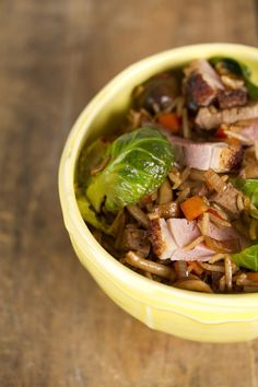 Soy sauce duck and mushroom fried rice