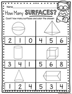 GEOMETRY worksheets for kindergarten - common core math unit - teach sides - surfaces - corners of 3D solids - geometric solids