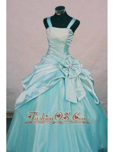 Custom Made Straps Aqua Blue Taffeta Little Girl Pageant Dresses With Hand Made Flowers    http://www.fashionos.com  http://www.facebook.com/quinceaneradress.fashionos.us   This lovely flower girl dress features a tank style clean straps, fitted bodice, and a ruched taffeta band with a big bow on the side. A gorgeous ball gown skirt with a taffeta ruffle half overlay completes the look.