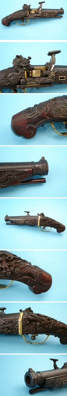 "Japanese snaphaunce pistol, c. 1650, .54 cal, 5 1/2 in octagon barrel, flared muzzle, gilt-brass securing straps and triggerguard, European type lock c. 1620-30 with Dragon, brass pan, carved stock. Ian Bottomley (Royal Armories):"" I have never seen a Japanese gun having such a lavishly decorated lock and stock; this is really spectacular. At best there might be a little engraving of scrolls and tendrils on the lockplate with perhaps some lacquer decoration on the stock but nothing like…"