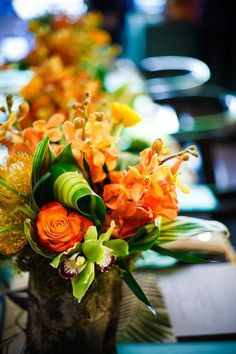 Very, very pretty fall flower arrangement.