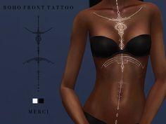 The Sims 4 Boho Front Tattoo Sims 4 Cas, Sims Cc, Sims 4 Tattoos, Tatoos, Sims 4 Piercings, Tattoos For Women, Female Tattoos, Fantasy Tattoos, Sims4 Clothes