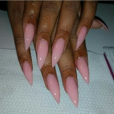 "If you're unfamiliar with nail trends and you hear the words ""coffin nails,"" what comes to mind? It's not nails with coffins drawn on them. It's long nails with a square tip, and the look has. Pink Acrylic Nail Designs, Pink Acrylic Nails, Glitter Gel Nails, Pink Acrylics, Pink Nails, My Nails, Pink Stiletto Nails, Trendy Nails, Nail Design"