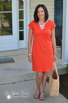 Orange Dress: perfect Spring time color! A nice alternative to shorts this season.  Fashion over 40!